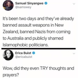 shamed: Samuel Sinyangwe  @samswey  It's been two days and they've already  banned assault weapons in New  Zealand, banned Nazis from coming  to Australia and publicly shamed  Islamophobic politicians.  Erica Buist  @ericabuist  Wow, did they even TRY thoughts and  prayers?