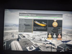 Rockstar should give an actual gold metal to those that get all gold stars on all the flight missions: San Andreas Flight School  LESSONS  RESULTS  INFORMATION  Outside Loop  Engine Failure  Chase Parachute  City Landing  GOLD  Moving Landing  Formation Flight  Follow Flight School instructor  through an obstacle course around  the city.  Gold  Highest Medal  Shooting Range  Recent Time  02:18.687  Ground Level  Best Time  02:18.687  Collect Flags  World Record  00:00.127  Follow Leader  BRONZE  SILVER  GOLD  02:25.000  02:40.000  Finish  Online Leaderboard R1 Quit  Select X Rockstar should give an actual gold metal to those that get all gold stars on all the flight missions