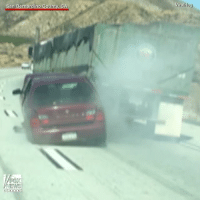 Crazy, Memes, and California: San Bernardino County  CA  EWS  viralHog DRAMATIC VIDEO: A driver captured this crazy scene in California of a truck unknowingly dragging a car on the highway.