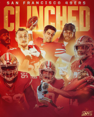 The @49ers have clinched a spot in the #NFLPlayoffs! #GoNiners https://t.co/G7comOhnrS: SAN FRANCIS CO 49 ERS  CLINCHED  49ERS  66  49s Re The @49ers have clinched a spot in the #NFLPlayoffs! #GoNiners https://t.co/G7comOhnrS