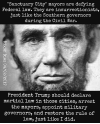 "martial law: Sanctuary City"" mayors are defyin  Federal law. They are insurrectionists,  just like the Southern governors  during the Civil War.  President Trump should declare  martial law in those cities, arrest  the mayors, appoint military  governors, and restore the rule of  law, just like I did."