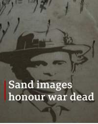 Anaconda, Memes, and Soldiers: Sand images  honour war dead Giant portraits of soldiers who died in World War One have been etched across UK beaches to mark 100 years since the end of the conflict. Volunteers were given stencils and rakes to create the large-scale images. The faces were later washed away by the incoming tide. The project called Pages of the Sea was conceived by Oscar-winning director Danny Boyle. armistice100 lestweforget worldwarone pagesofthesea dannyboyle bbcnews