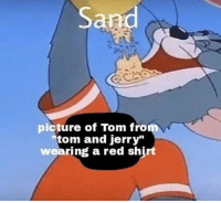 Tom and Jerry: Sand  picture of Tom fro  tom and jerry  wearing a red shj