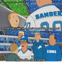 meirl: SANDER  s it ok that l feel like l don't  want  to live anymore?  LIONS  Yes Bobby, that's normal meirl