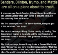 "America, Bernie Sanders, and Donald Trump: Sanders, Clinton, Trump, and Mattis  are all on a plane about to crash..  ■騾關  A plane carrying Bernie Sanders, Hillary Clinton, Donald Trump,  and General James ""Mad Dog"" Mattis is about to crash, but  there are only three parachutes.  The first passenger yells, ""I'm Bernie Sanders, everyone gets  a free parachute"" and jumps.  The second passenger, Hillary Clinton, runs by screaming, ""I'm  the smartest woman in the world and the next President of  the United States of America."" She grabs the second parachute  and jumps.  The third passenger, Donald Trump, looks at General Mattis and  says, ""Sir, you're a war hero. Take the last parachute."" Mad Dog  smiles and replies, ""It's ok Don, there's parachutes left for both  of us. The world's smartest woman just took my backpack."""