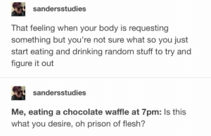 OH PRISON OF FLESH: sandersstudies  That feeling when your body is requesting  something but you're not sure what so you just  start eating and drinking random stuff to try and  figure it out  sandersstudies  Me, eating a chocolate waffle at 7pm: Is this  what you desire, oh prison of flesh? OH PRISON OF FLESH