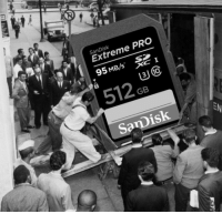 Pro, Prototype, and Sandisk: SanDisk  Extrem  95M  e PRO  B/S S  512.  SanDisk  GB Prototype of a 512Gb SD card (circa 1956)