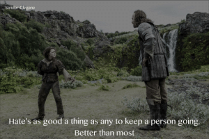 Good, Ask, and Gone: Sandor Clegane  Hate's as good a thing as any to keep a person going  Better than most When people ask while I'm still watching when the story's gone totally off the rails
