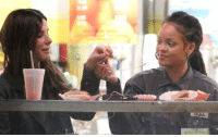 Rihanna, Sandra Bullock, and Girl Memes: sandra bullock and rihanna listening to music together and sharing french fries saved 2016