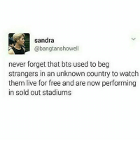 sandra  Cabangtanshowell  never forget that bts used to beg  strangers in an unknown country to watch  them live for free and are now performing  in sold out stadiums Europeans who need BTS to come to us, put your hands up 🙌👐✋ - - - rapmonster v jimin jhope jin suga jungkook bangtan bangtanboys bangtansonyeondan kpop kpopmemes memes phan pepe bts btspost btstextpost btsmemes f4f followforfollow f4ff l4l s4s