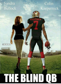 Colin Kaepernick, Memes, and Nfl: Sandra  Colin  Kaepernick  Bullock  NFLMEMEZ  THE BLIND QB He had a solid run for a little while... Credit: Brandon Blevins | LIKE NFL Memes!