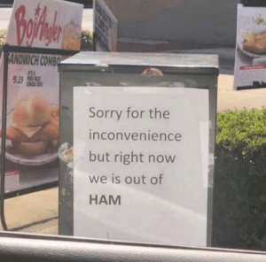 Sorry, Inconvenience, and Ham: SANDWICH COMBO  S A  5 29 SH  INDA D  Sorry for the  inconvenience  but right now  we is out of  HAM We is out of HAM