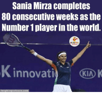Congratulations, World, and Indianpeoplefacebook: Sania Mirza completes  consecutive Weeks as the  Number 1playerinthe World  LA GHNG  innovati KIA  K  ing colours.com  a u Congratulation 😍😍😍