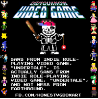 "Sans from Earthb-  *AHEM*  ...I mean Undertale.: SANS FROM INDIE ROLE  PLAYING VIDEO GAME  UNDER TALE IS  ACTUALLY SANS FROM  INDIE PLAYING  GAME,  UNDER TALE""  AND NOT NESS FROM  EARTHBOUND  FB. COM HONEST VGBOXART Sans from Earthb-  *AHEM*  ...I mean Undertale."