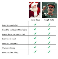 Bad, Beautiful, and Santa Claus: Santa Claus  Joseph Stalin  Favorite color is Red  Beautiful and bushy Moustache  Knows if you are good or bad  Everyone is equal  Lives in a cold placeV  Owns workcamp  Gives out free things Wake up Sheeple!