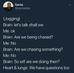 Lets Talk: Santa  @santatate  (Jogging)  Brain: let's talk shall we  Me: ok  Brain: Are we being chased?  Me: No  Brain: Are we chasing something?  Me: No  Brain: So wtf are we doing then?  Heart & lungs: We have questions too