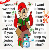 For more awesome holiday and fun pictures go to... www.snowflakescottage.com: Santa  wanted  me  to drop  In On  you  and see  if you  Were  being  good.  I want  to know  how  much  is it  Worth  to you  for me to  keep my  mouth  shut? For more awesome holiday and fun pictures go to... www.snowflakescottage.com