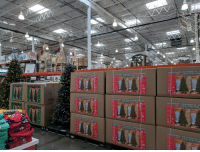 Christmas, Costco, and Gps: Sapir de Noel artificiel Artificial christmas Tree A  e artialed Artificial Christmas Tihee Abol de  m /75 ft /75 pi  Sapin d  Noël artificiel  Artificial Christmas Tree  2.2 m/ 7.5 ft  Arl  pi  2.2 m  2.2 m /7.5 ft/7.5 pi  2.2 m /7.5 ft / 7.5 pi  GPS 9/18 Christmas already on display in Costco.