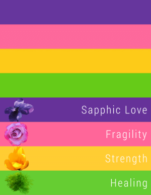 Lesbians, Love, and Tumblr: Sapphic Love  Fragility  Strength  Healing jasker:  HEY LESBIANS! lookin for a more inclusive flag to use with pride coming up? may i recommend THIS BEAUTY?not only are the colors web safe, easy to produce IRL, simple, lively,  vibrant, but they each have individual meanings and are based on the flowers in sappho's poem! you can see the creator's article here—i prefer the harmonized color version by mayakern, so i'm using that here 💕 id love it if this one caught on, so please use it if it inspires and resonates with you the way it did with me! 🥰