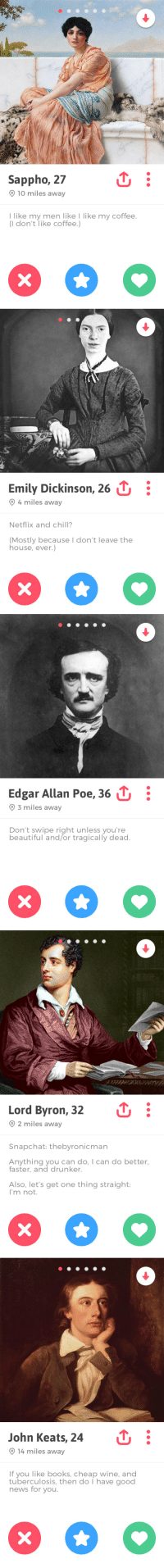 byronicthor:If these poets had tinder: Sappho, 27  9 10 miles away  I like my men like I like my coffee.  (I don't like coffee.)   Emily Dickinson, 26 :  9 4 miles away  Netflix and chill?  (Mostly because I don't leave the  house, ever.)   Edgar Allan Poe, 36 11.  9 3 miles away  Don't swipe right unless you're  beautiful and/or tragically dead   Lord Byron, 32  O 2 miles away  Snapchat: thebyronicman  Anything you can do, I can do better,  faster, and drunker.  Also, let's get one thing straight:  I'm not.   John Keats, 24  9 14 miles away  If you like books, cheap wine, and  tuberculosis, then do I have good  news for you. byronicthor:If these poets had tinder