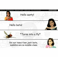 Hello, Memes, and Roast: SARA BHA  ROAST  NG  N DIAN  TELEVIS  ON  Hello aunty!  Hello beta  Turns into a fly  Koi aur insect ban jaati beta,  makkhis are so middle-class.  SCOOP WHOOP MayaSarabhai is the real sass queen of indiantelevision. sarabhaivssarabhai bestshow funnyaf scoopwhoopinsta scoopwhoop instaalbum instapics instalike instashare instaeve