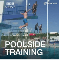 Memes, News, and Bermuda: @Saracens  NEWS  POOLSIDE  TRAINING This is how to make a splash in the world of rugby. 🏉🤗💦London-based side Saracens have come up with a great way to practise their passing away from the pitch. The team are in Bermuda for a pre-season training camp. @saracensofficial saracens rugby sport rugbyball london bermuda swimmingpool fun catch splash BBCShorts BBCNews @bbcnews