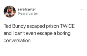 Meirl: sarafcarter  NAM  @sarafcarter  Ted Bundy escaped prison TWICE  and I can't even escape a boring  conversation Meirl