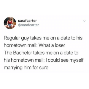 I've had stronger connections with an Auntie Anne's pretzel than these girls have with Colton. Read our Bachelor recap at the link in bio.: sarafcarter  @sarafcarter  Regular guy takes me on a date to his  hometown mall: What a loser  The Bachelor takes me on a date to  his hometown mall: I could see myself  marrying him for sure I've had stronger connections with an Auntie Anne's pretzel than these girls have with Colton. Read our Bachelor recap at the link in bio.