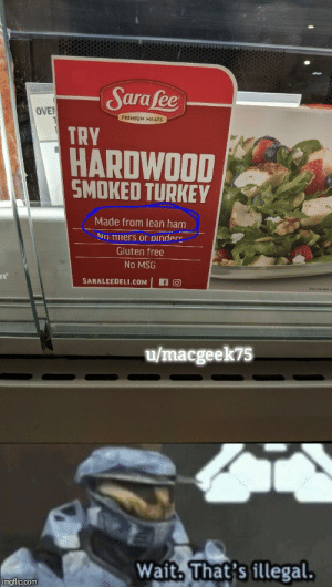 Apparently, Lean, and Free: Sarafee  OVEN  PREMIUM MEATS  TRY  HARDWOOD  SMOKED TURKEY  Made from lean ham  NO THmers or binders  Gluten free  No MSG  SARALEEDELI.COM  u/macgeek75  Wait, That's illegal.  imgflip.com Well, apparently turkey has become treif