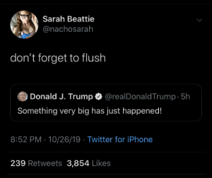 don't forget: Sarah Beattie  @nachosarah  don't forget to flush  @realDonaldTrump 5h  Donald J. Trump  Something very big has just happened!  8:52 PM 10/26/19 Twitter for iPhone  239 Retweets 3,854 Likes