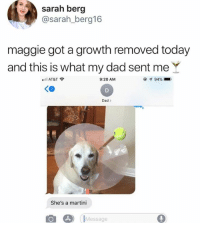 Dad, Dank, and At&t: sarah berg  @sarah_berg16  maggie got a growth removed today  and this is what my dad sent meY  eill  11 AT&T令  9:20 AM  Ke  Dad>  She's a martini  Message