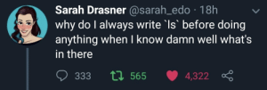 Why, Make, and Whats: Sarah Drasner @sarah_edo 18h  why do I always write Is before doing  anything when I know damn well what's  in there  ti 565  333  4,322 Just to make absolutely sure