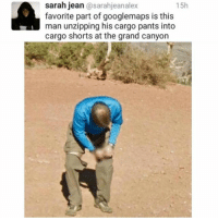 Funny, Forever, and Grand: sarah jean @sarahjeanalex  favorite part of googlemaps is this  man unzipping his cargo pants into  cargo shorts at the grand canyon  15h Always & Forever.