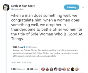 "profeminist:   ""when a man does something well, we congratulate him. when a woman does something well, we drop her in thunderdome to battle other women for the title of Sole Woman Who Is Good At Things."" -   sarah of high heart      : sarah of high heart  @oscarmiked  Following  when a man does something well, we  congratulate him. when a woman does  something well, we drop her in  thunderdome to battle other women for  the title of Sole Woman Who Is Good At  Things  NBC News@NBCNews  Analysis: At Golden Globes, Oprah delivered the kind of inspirational and  aspirational message that Hillary Clinton had trouble hammering home in  2016 presidential election. nbcnews.to/2mc17ho  10:22 AM-8 Jan 2018  7,593 Retweets 28,306 Likes  OOD profeminist:   ""when a man does something well, we congratulate him. when a woman does something well, we drop her in thunderdome to battle other women for the title of Sole Woman Who Is Good At Things."" -   sarah of high heart"