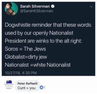 (Liz): Sarah Silverman  @SarahKSilverman  Dogwhistle reminder that these words  used by our openly Nationalist  President are winks to the alt right:  Soros The Jews  Globalist-dirty jew  Nationalist -white Nationalist  10/27/18, 4:30 PM  Peter Raffaelli  Cunt you (Liz)