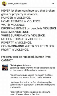 Fire, Head, and Memes: Sarah solidarity nyc  NEVER let them convince you that broken  glass or property is violence.  HUNGER is VIOLENCE.  HOMELESSNESS is VIOLENCE.  WAR is VIOLENCE.  DROPPING BOMBS on people is VIOLENCE  RACISM is VIOLENCE.  WHITE SUPREMACY is VIOLENCE.  NO HEALTHCARE is VIOLENCE.  POVERTY is VIOLENCE.  CONTAMINATING WATER SOURCES FOR  PROFIT is VIOLENCE.  Property can be replaced, human lives  CANNOT.  Christopher Johnson  Bashing people over the head with steel pipes  on the streets of Berkeley is violence.  Pepper spraying a young woman in the face  because she wore a Trump hat is violence.  Lighting a limousine on fire (destroying the  sole means of support of a muslim immigrant)  is violence.  Perpetrating violence against people who  have different ideas is fascism. (GC)