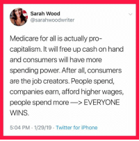 Iphone, Twitter, and Capitalism: Sarah Wood  @sarahwoodwriter  Medicare for all is actually pro-  capitalism. It will free up cash on hand  and consumers will have more  spending power. After all, consumers  are the job creators. People spend,  companies earn, afford higher wages,  people spend more->EVERYONE  WINS  5:04 PM 1/29/19 Twitter for iPhone