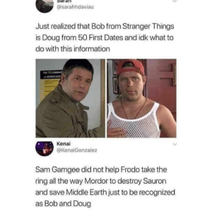 Real recognizes real.: @sarahhdaviau  Just realized that Bob from Stranger Things  is Doug from 50 First Dates and idk what to  do with this information  THE 10 COMMAND  WORLACE  Kenai  @KenaiGonzalez  Sam Gamgee did not help Frodo take the  ring all the way Mordor to destroy Sauron  and save Middle Earth just to be recognized  as Bob and Doug Real recognizes real.