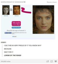 Lorde Of The Rings: sarahsarahpearl karakaramel  Morph  a new image  Morph this image  Please like this image on Facebook!  SharE 66.158 people site this. Be the festoryour  Tweet  xixsem:  l DID THIS IM VERY PROUD OF IT YOU KNOW WHY  BECAUSE  WAIT FOR IT  LORDE OF THE RINGS  216,022 notes  Source: xixsern
