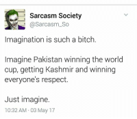 Bitch, Memes, and Respect: Sarcasm Society  Sarcasm So  Imagination is such a bitch.  Imagine Pakistan winning the world  cup, getting Kashmir and winning  everyone's respect.  Just imagine.  10:32 AM 03 May 17
