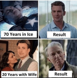 70 years in ice: /Sarcasmlol  70 Years in Ice  Result  /Sarcasmlo  Result  20 Years with Wife 70 years in ice