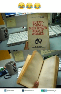 Thing, Men, and  Things: Sarcasmlol  EVERY  THING  MEN ABOUT  WOMEN  De, Alen Francia  America's Foremost  Psychologat  Sarcasmlol.com  @Sarcastic Us