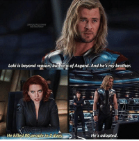 Memes, Avengers, and Marvel: SARCASTICSTARK  INST AGRAM  Loki is beyond reason but he is ofAsgard. And he's my brother.  He's adopted.  He killed 80peoplein daysb  t iconic thor chrishemsworth loki avengers natasharomanoff blackwidow scarlettjohansson mcu marvel