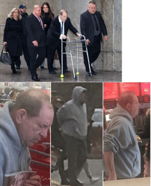 Harvey Weinstein pulls out a walker for court appearances but walks fine going to Target.: SARCES ETLERE Harvey Weinstein pulls out a walker for court appearances but walks fine going to Target.