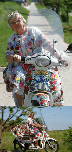 sartorialadventure: jamsker:  peterfromtexas: Born to be wild The lady on the scooter was an artist named Szabó Éva (sadly she passed away 4 years ago). She decorated the scooter herself, and as far as I know she could have embroidered the dress herself too, as she was absolutely skilled at the craft and often gave away tapestries to churches.   She worked on cars too (as well as easter eggs, besides teaching folk dance): She learned the art of Kalocsa patterns from her mother and she believed in keeping the folk motifs alive so passionately that she reportedly told she'd paint an entire house or airplane kalocsai if anyone asked her.  Hungarian art : sartorialadventure: jamsker:  peterfromtexas: Born to be wild The lady on the scooter was an artist named Szabó Éva (sadly she passed away 4 years ago). She decorated the scooter herself, and as far as I know she could have embroidered the dress herself too, as she was absolutely skilled at the craft and often gave away tapestries to churches.   She worked on cars too (as well as easter eggs, besides teaching folk dance): She learned the art of Kalocsa patterns from her mother and she believed in keeping the folk motifs alive so passionately that she reportedly told she'd paint an entire house or airplane kalocsai if anyone asked her.  Hungarian art