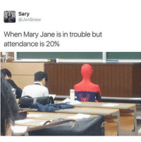Memes, 🤖, and Sari: Sary  @Jxn Snow  When Mary Jane is in trouble but  attendance is 20% School now is basically about passing instead of learning @sanduskybih