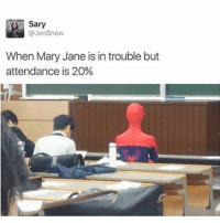 Memes, 🤖, and Bieber: Sary  @Jxn Snow  When Mary Jane is in trouble but  attendance is 20% 😂😂😂😂lol - - - - - 420 memesdaily Relatable dank MarchMadness HoodJokes Hilarious Comedy HoodHumor ZeroChill Jokes Funny KanyeWest KimKardashian litasf KylieJenner JustinBieber Squad Crazy Omg Accurate Kardashians Epic bieber Weed TagSomeone hiphop trump rap drake