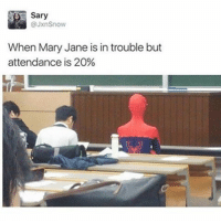 Memes, Kardashian, and 🤖: Sary  @JxnSnow  When Mary Jane is in trouble but  attendance is 20% 😂 @will_ent - - - - - - - - text post textpost textposts relatable comedy humour funny kyliejenner kardashians hiphop follow4follow f4f kanyewest like4like l4l tumblr tumblrtextpost imweak lmao justinbieber relateable lol hoeposts memesdaily oktweet funnymemes hiphop bieber trump