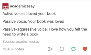 Love, Book, and Passive Aggressive: SAS academicssay  Active voice: loved your book  Passive voice: Your book was loved  Passive-aggressive voice: I love how you felt the  need to write a book  Source: academicssay  73,407 notes