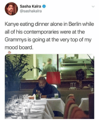 Damn: Sasha Kalra  @sashakalra  Kanye eating dinner alone in Berlin while  all of his contemporaries were at the  Grammys is going at the very top of my  mood board. Damn